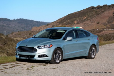 2013 Ford Fusion Hybrid, Exterior, Front 3/4, Picture Courtesy of Alex L. Dykes