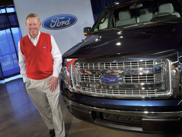 Alan Mulally Posing With 2013 Ford F-150 Circa June 2012