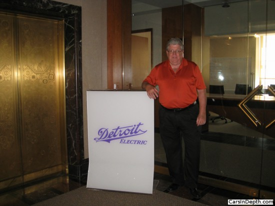 Detroit Electric Vice President Doug Moore. Note the used whiteboard in the conference room behind him.