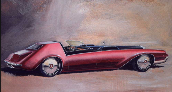 This 1967 rendering by Wayne Kady of a hypothetical V16 powered Cadillac prefigures both the 1980 Seville and Bill Mitchell's Phantom of 1977.