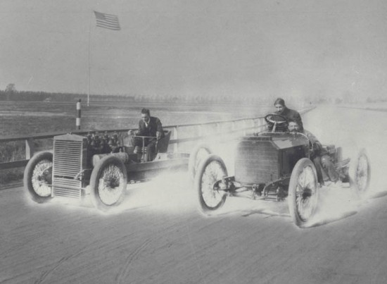 "Henry Ford driving the ""999"" in an Exhibition Run against Harry Harkness in a Mercedes Simplex, at the Detroit Driving Club's 1 Mile Track in Grosse Pointe."
