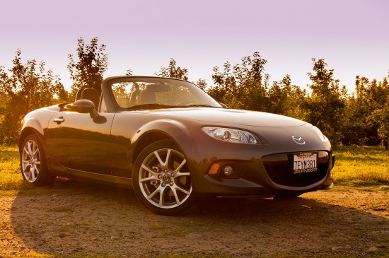 2015 Mazda Miata Grand Touring PRHT front three quarter top down