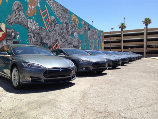 Teslas in a row Courtesy ibtimes.com
