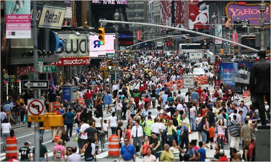 Pedestrians on Broadway in New York