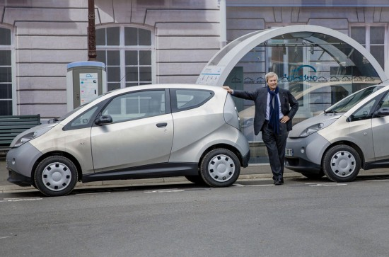 Vincent Bollore with his Bluecars in Paris
