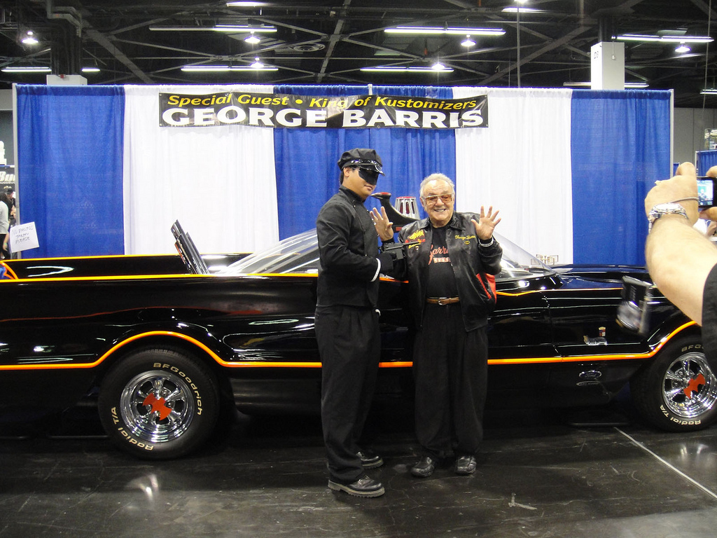 George Barris With Kato And The Batmobile Circa