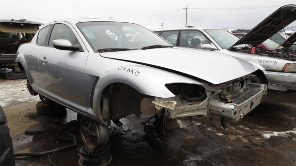 03 - 2004 Mazda RX-8 in Colorado junkyard - photo by Murilee Martin