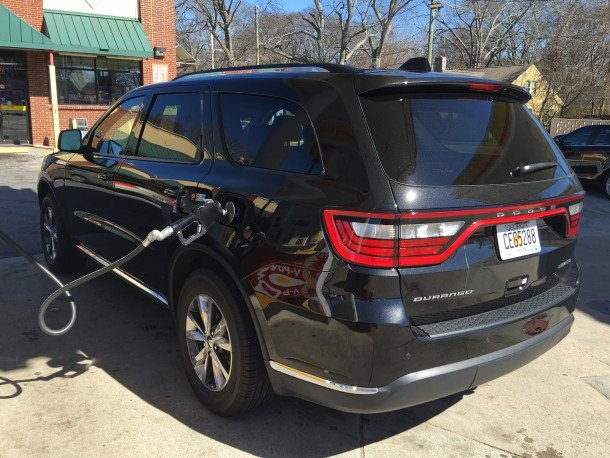 2016 Dodge Durango Rear 3/4 at Gas Pump, Image: © 2016 Bark M./The Truth About Cars
