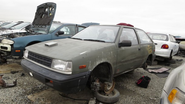 17 - 1986 Hyundai Excel in California junkyard - photo by Murilee Martin