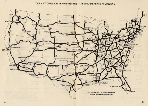 "Map from the January 1971 U.S. Department of Transportation Federal Highway Administration Interstate System Route Log & Finder List. ""The routes and route numbers shown are those designated as of October 1, 1970."""