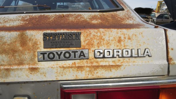 1981 Toyota Corolla SR5 Coupe in Colorado Junkyard, Corolla emblem - ©2016 Murilee Martin - The Truth About Cars