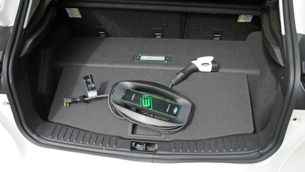 2016 Ford Focus EV Charging Cable in Trunk, Image: © 2016 Jeff Voth/The Truth About Cars