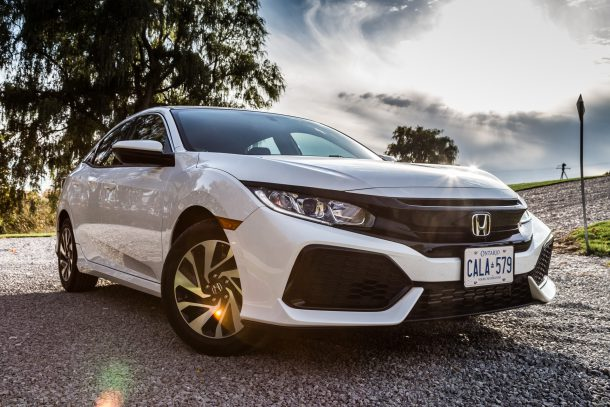 2017 Honda Civic Hatchback white front 3/4 closeup, Image: © 2016 Mark Stevenson/The Truth About Cars