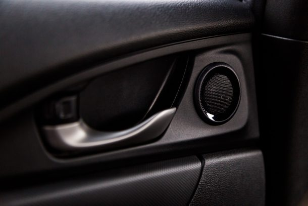 2017 Honda Civic Hatchback rear door interior handle and tweeter, Image: © 2016 Mark Stevenson/The Truth About Cars