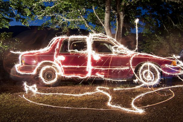 Long-Exposure of Sparklers around Old Car, Image: thevlue/Flickr
