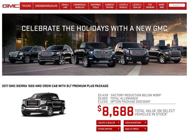 GMC.com screenshot - Image: GMC