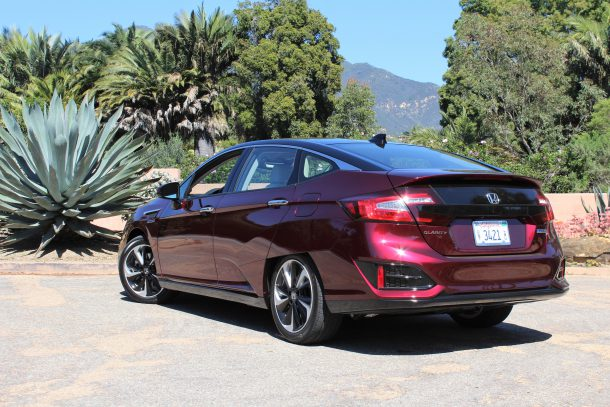 2017 Honda Clarity Fuel Cell Exterior Rear 3/4, Image: © 2017 Steph Willems/The Truth About Cars