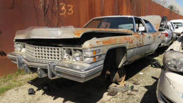 1974 Cadillac Fleetwood in California wrecking yard, LH front view - ©2017 Murilee Martin - The Truth About Cars