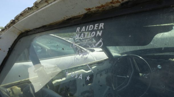 1977 Ford Ranchero GT Brougham in California wrecking yard, Raider Nation decal - ©2017 Murilee Martin - The Truth About Cars