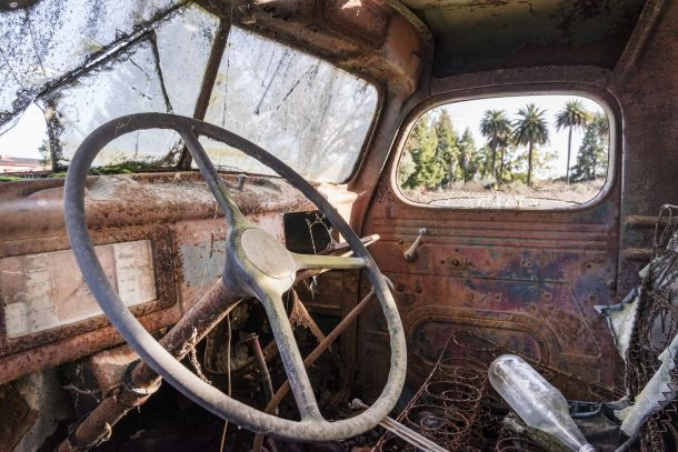 rusted truck interior old