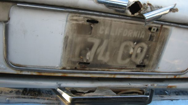 1969 Jaguar XJ6 in California wrecking yard, license plate shadow - �2018 Murilee Martin - The Truth About Cars