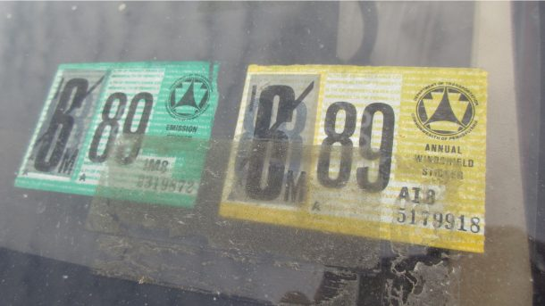 1982 Oldsmobile Cutlass Ciera in California wrecking yard, inspection stickers - ©2018 Murilee Martin - The Truth About Cars