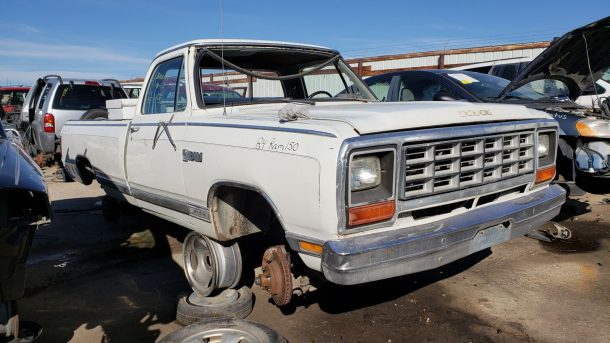 1984 Dodge Ram pickup in Colorado wrecking yard, RH front view - ©2018 Murilee Martin - The Truth About Cars