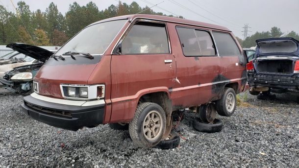 1984 Toyota LiteAce Van in North Carolina wrecking yard, LH front view - ©2018 Murilee Martin - The Truth About Cars