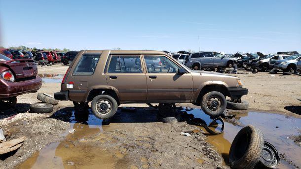 1988 Toyota Tercel 4WD wagon in Colorado wrecking yard, RH view - ©2019 Murilee Martin - The Truth About Cars