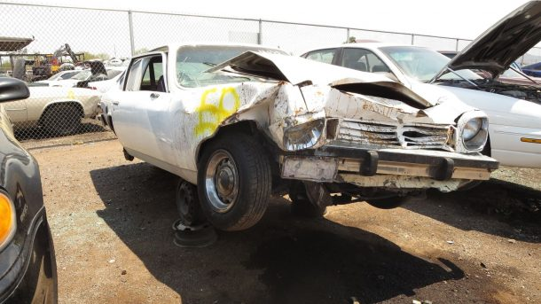 1972 Chevrolet Vega in Phoenix wrecking yard, RH front view - ©2019 Murilee Martin - The Truth About Cars