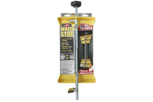 camco wheel stop large with lock