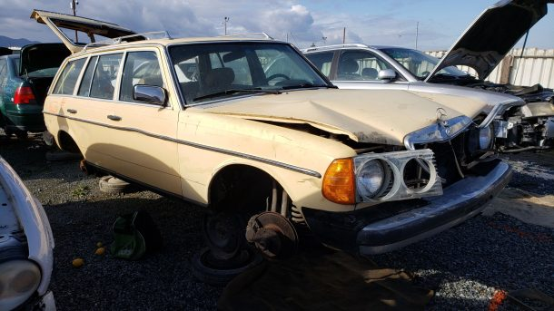1981 Mercedes-Benz W123 wagon in California junkyard, RH front view - ©2019 Murilee Martin - The Truth About Cars