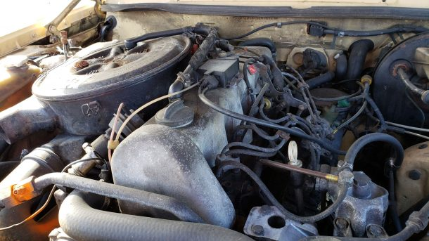 1981 Mercedes-Benz W123 wagon in California junkyard, OM617 engine - ©2019 Murilee Martin - The Truth About Cars