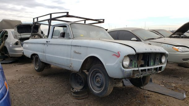 1961 Ford Falcon Ranchero in Denver junkyard, RH front view - ©2020 Murilee Martin - The Truth About Cars