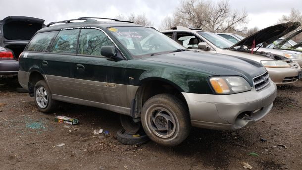 2001 Subaru Legacy Outback in Denver junkyard, RH front view - ©2020 Murilee Martin - The Truth About Cars
