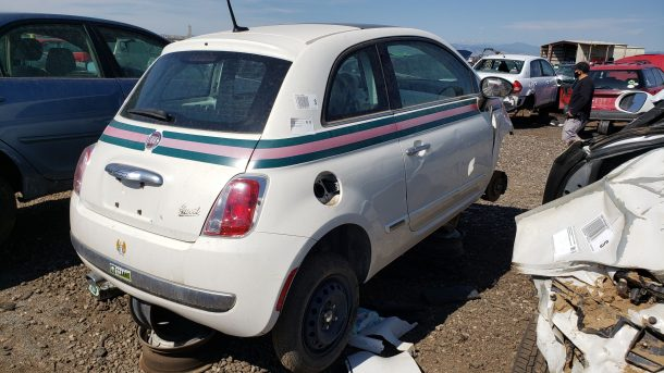 2012 Fiat 500 Gucci Edition in Denver junkyard, RH rear view - ©2020 Murilee Martin - The Truth About Cars