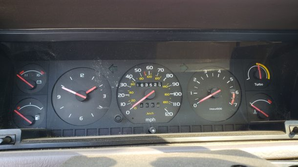 1989 Volvo 780 Bertone in Colorado junkyard, instrument cluster - ©2020 Murilee Martin - The Truth About Cars
