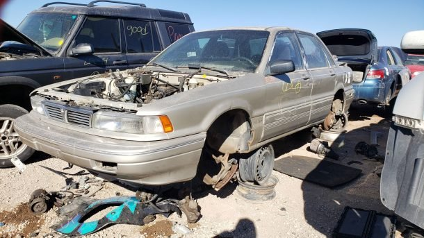 1990 Mitsubishi Galant GSX in Colorado junkyard, LH front view - ©2020 Murilee Martin - The Truth About Cars
