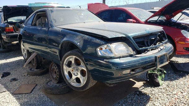 1996 Mercedes-Benz SL320 R129 in California junkyard, RH front view - ©2021 Murilee Martin - The Truth About Cars